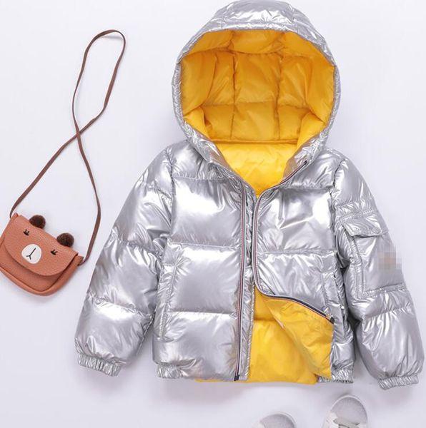 2018 sonbahar ve kış çocuk kısa çocuk aşağı ceket erkek ve kız bebek gümüş kalın çocuk giyim