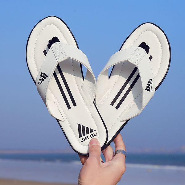 Yaz Üst sınıf deri tasarımcı terlik Rahat Terlik Erkek Karışık Renkler Çizgili Kapalı Flip-Flop Açık Plaj Flip-Flop Sandalet