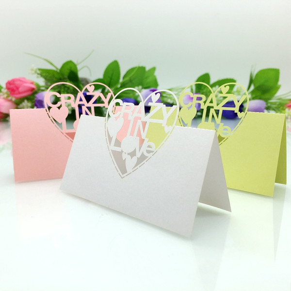 Laser Cut Place Cards With Hearts Paper Carving Name Cards For Party Table Decorations Seating Place Cards Wedding PC2