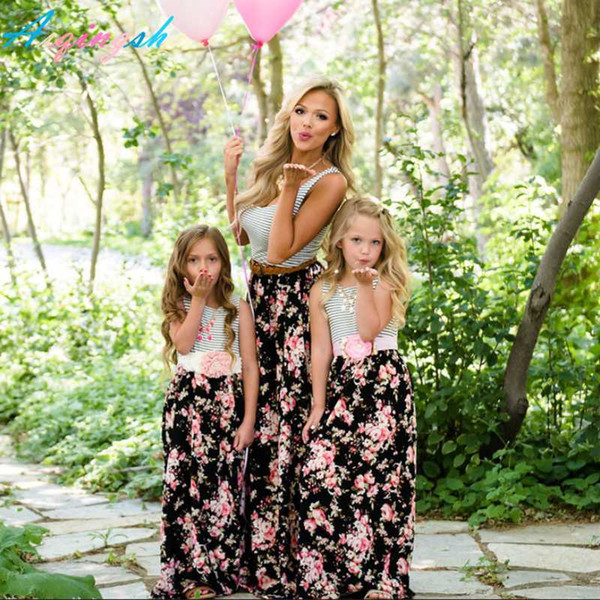 Mommy and Me Flower Mother Daughter Dresses Family Matching Clothes Outfits Floral Print Sleeveless Mom Girls Long Maxi Dress