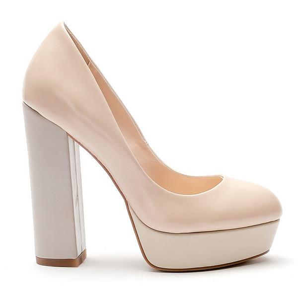 2018 New fashion wholesale round toe high heel dress shoes platform chunky heel fashion elegant pattern dress shoes woman wholesale China