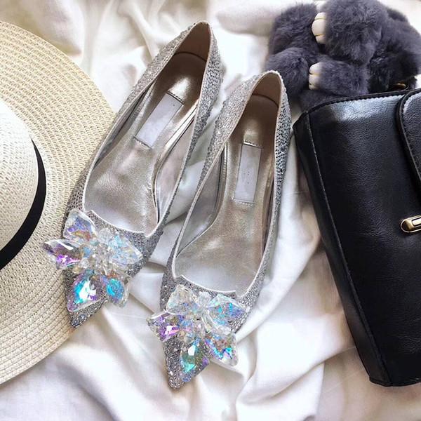 Frete grátis moda feminina bombas sexy lady ouro prata preto brilho ponto de cristal toe flats sapatos noiva botas de casamento