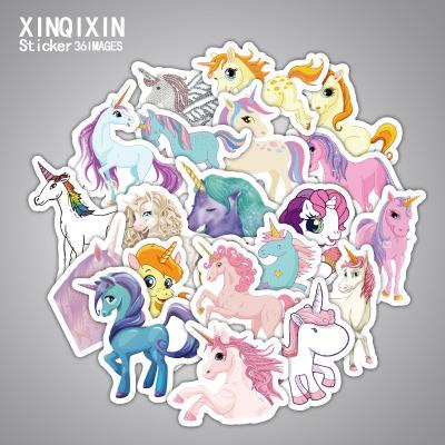 New DIY Styling 33Pcs No Repeating Unicorn Cartoon Pretty Stickers Notebook Suitcase Car Stickers Children Accessories Waterproof