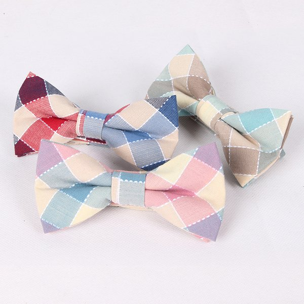 2017 100% Cotton Bow Ties for Mens Mint Green Suit Plaid Bowtie Wedding Party Jacquard Papillon Red Grids Butterfly Neckwear