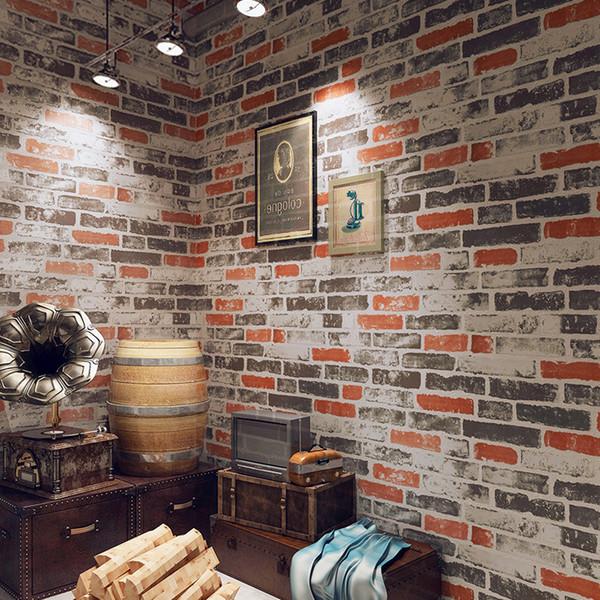 Acheter PVC Étanche Vintage 3D Pierre Effet Papier Peint Pour Cuisine  Restaurant Café Bar Brique Rouge Mur Décor Papier Peint Papel De Parede De  ...