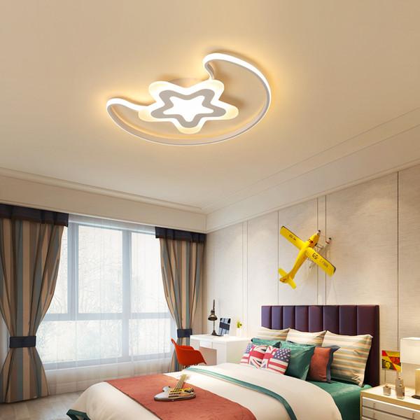 Ay Ve Yıldız Modern LED Tavan Işıkları Demir Akrilik Beyaz LED Tavan Lambası Yatak Odası çocuk odası Için masa lambası ev aydınlatma