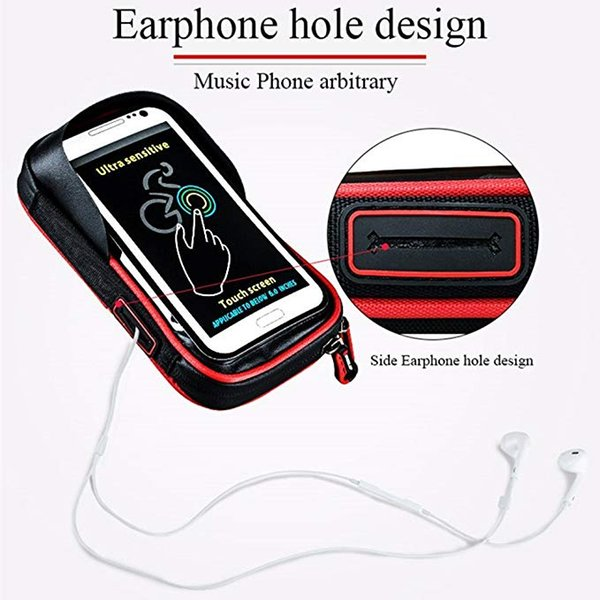 Bike Handlebar Bag, Universal Waterproof Cell Phone Pouch Bicycle & Motorcycle Handlebar Phone Mount Holder Cradle with 360Rotate for iPhone