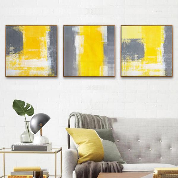Acheter Haochu Nordic Toile Abstraite Peinture Typographie Jaune Gris Couleur Mur Photos Pour Salon Décoration De 26 72 Du Adeir Dhgate Com