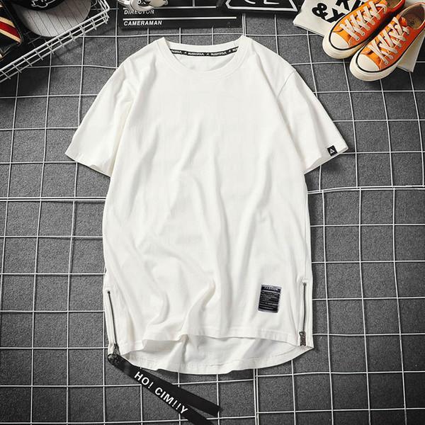 Faousha Side Zipper T Shirt Men Summer Hip Hop Tops Tees Solid Color Short Sleeve Shirts Streetwear Camisetas Hombre