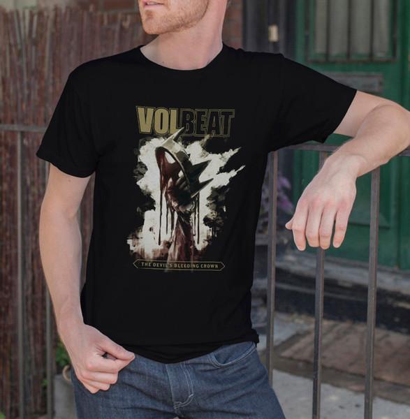 2018 Short Sleeve Cotton T Shirts Man Clothing VOLBEAT The Devils Bleeding Crown Men Black T-Shirt Rock Band Tee Shirt SIZE S-3X