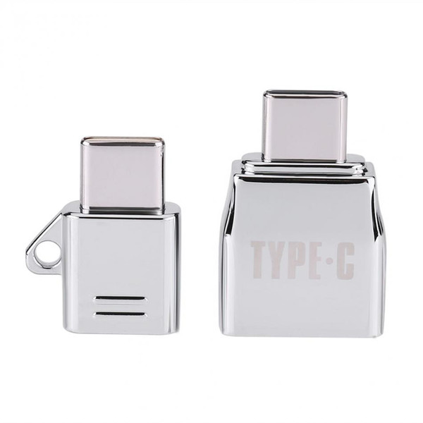 VBESTLIFE Type C OTG 2pcs/Sets Micro USB Female to Type C USB Male OTG Adapter Charger Zinc Alloy Set Suit with Metal Lanyard