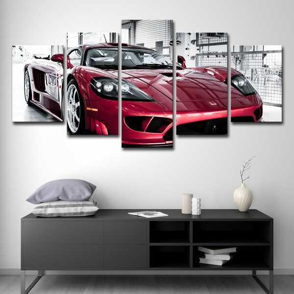 5PCS Modern Home Decor Modular Poster Wall Art Pictures Frame HD Printed Canvas Photo 5 Pieces Luxury Flashy Red Sports Car Paintings