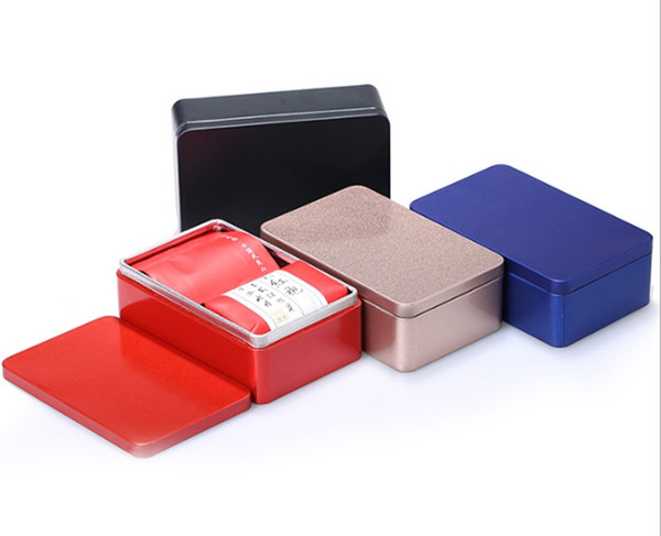 100pcs/lot Fast shipping 10*6.4*3.2cm Tinplate metal Tea Tin box rectangle tea candy business card storage box case