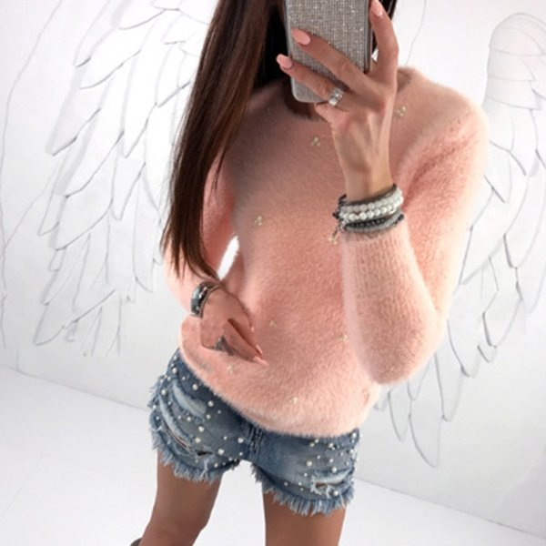 2018 New Ladies Spring Knitted Hoodie Long sleeve Pullover Casual Women O-neck Beading Sweatshirts Fashion Track WS4165U