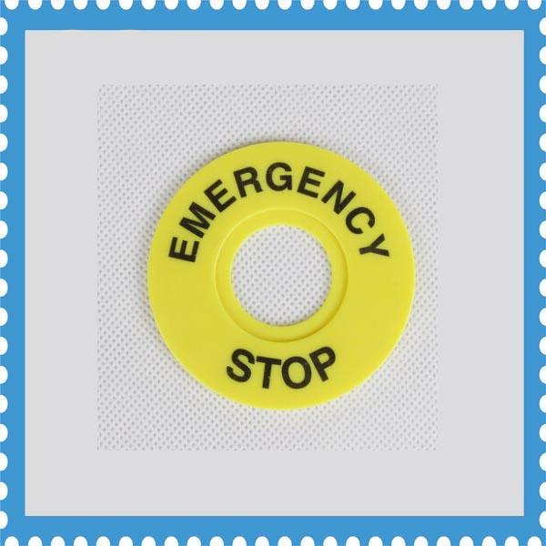 100pcs 22mm Emergency Stop Warning Ring Plastic Sign Push Button Switch Panel Label Frame outer diameter 60mm