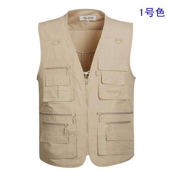 Chalecos beige para hombres Chaleco de viaje Bolsillos Chaleco verde militar con muchos bolsillos Chaqueta de hombre Plus Size XL-5XL
