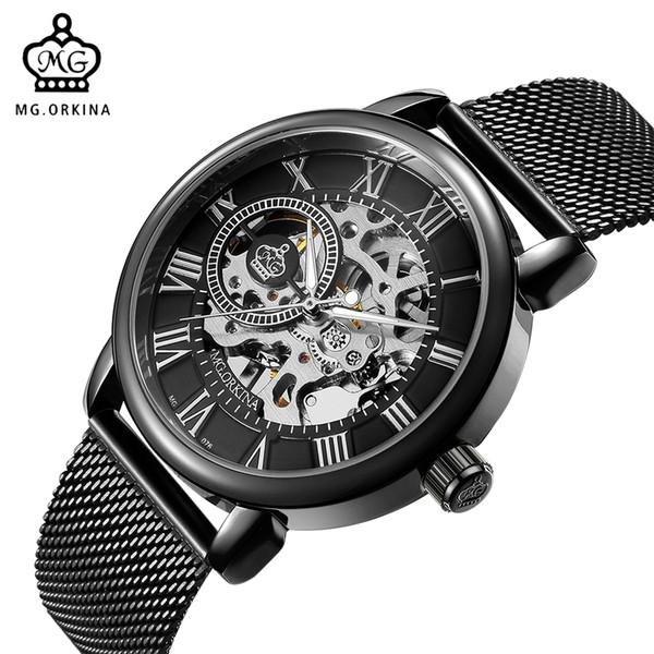 Großhandels-ORKINA männliches Armbanduhr-Skelett-Vorwahlknopf-mechanische Hand-wind Uhr-Männer Armbanduhr-Edelstahl-Maschen-Band Relogio Masculino