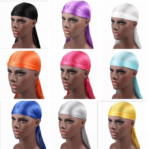 top popular New Fashion Men's Satin Durags Bandana Turban Wigs Men Silky Durag Headwear Headband Pirate Hat Hair Accessories 2021