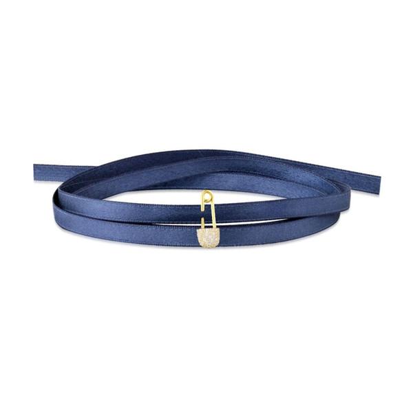 Стерлингового серебра 925 скрепки pin очарование ленты колье ожерелье женщин воротник синий зеленый красная лента крутящий момент Монако ювелирные изделия