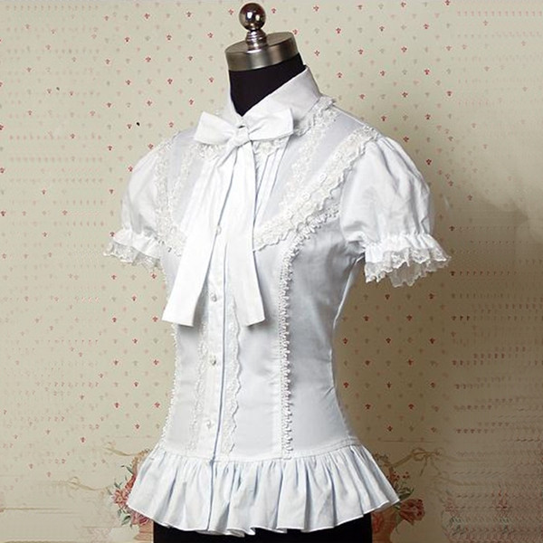 2018 Summer White Short Victorian Lolita Shirts tops Lace Ruffles Bow Blouses Costume For Women