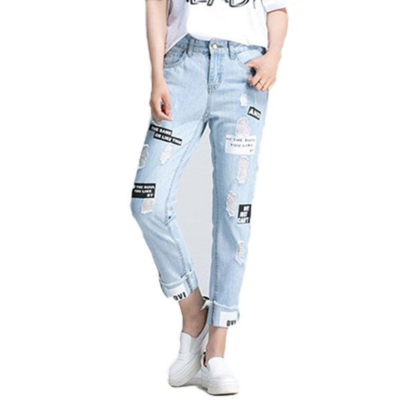 2017 Summer Leer Print Ripped Women Jeans Boy Friend Casual Hole Jeans For Women European Style Ladies Ankle Length Pants