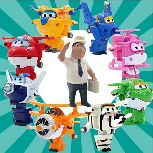 8 Color Super Alas Deformación Avión Robot Juguetes Grandes Planos Grandes Figuras de Acción Transformación Niños Regalo de Cumpleaños 612