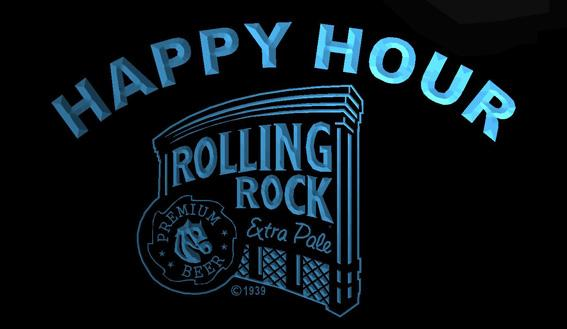 LS1270-b- Rolling Rock Beer Happy Hour Bar 3D LED Neon Light Sign Customize on Demand 8 colors to choose
