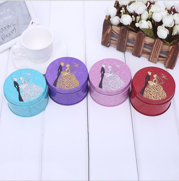 500pcs Round Shape Metal Tin Material Bride Groom Candy Box Wedding Favor Gift Favours Wedding Party Free Shipping