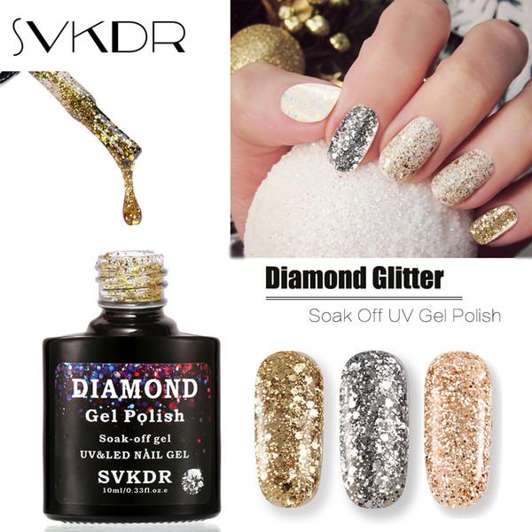 SVKDR Brand Professional Bling Glitter UV Gel Polish Soak Off Sequins Gel Nail Long-lasting Nail Manicure Art Tools 15 Color