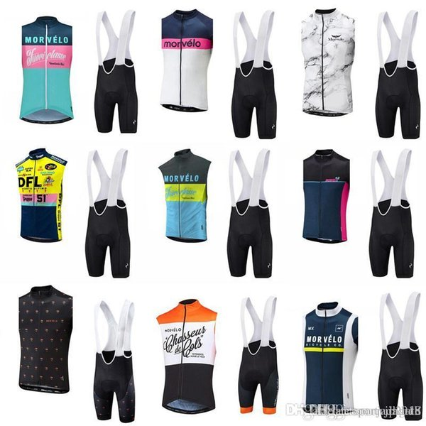 Vendita calda! Morvelo team Cycling Sleeveless jersey Vest (bib) shorts set Abbigliamento da equitazione da uomo traspirante Attrezzatura da mountain bike c2223
