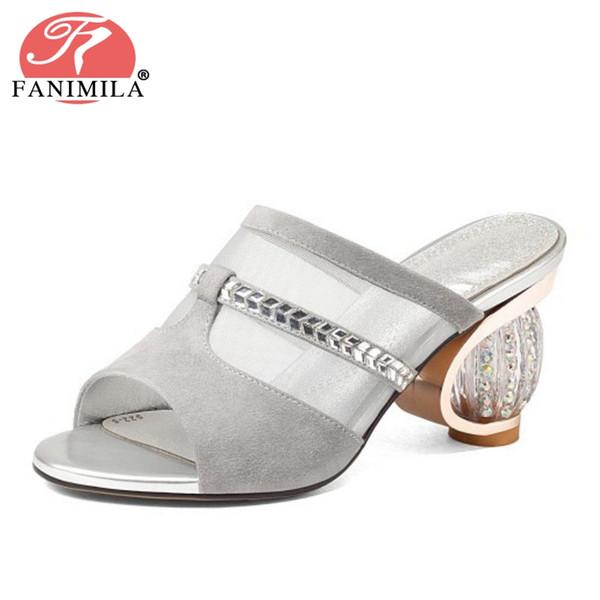 wholesale Women High Heel Sandals Genuine Leather Strange Heel Slip On Open Toe Women Shoes Fashion Party Foot Wear Size 34-39