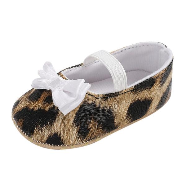 2018 ARLONEET Toddler Cute Girl Leopard Print Tie Morbido neonato antiscivolo Scarpe da bambino Morbide scarpe da bambino fatte a mano primi camminatori