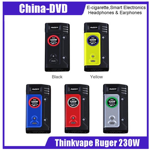Auténtico Thinkvape Ruger box Mod 230W Control de temperatura con batería no 18650 510 Ruger box mods vape stock 100% Original