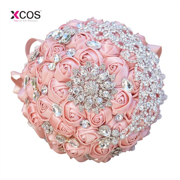 In Stock Gorgeous Beaded Crystal Wedding Bouquet Rose Gold Lace Bridesmaid Flowers Artificial Bridal Bouquets