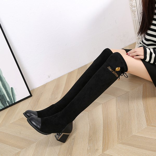 wholesale 2019 Women Over The Knee Boots Lace Up Sexy High Heels Elastic Shoes Lace-Up Long Tube Boots Over-The-Knee Boot