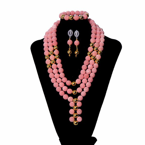 AMYNOVA Fashion African Wedding Jewelry Set for Women Pink Nigerian Bridal Beads Jewelry Set Multi Layer Indian Necklace YZ3