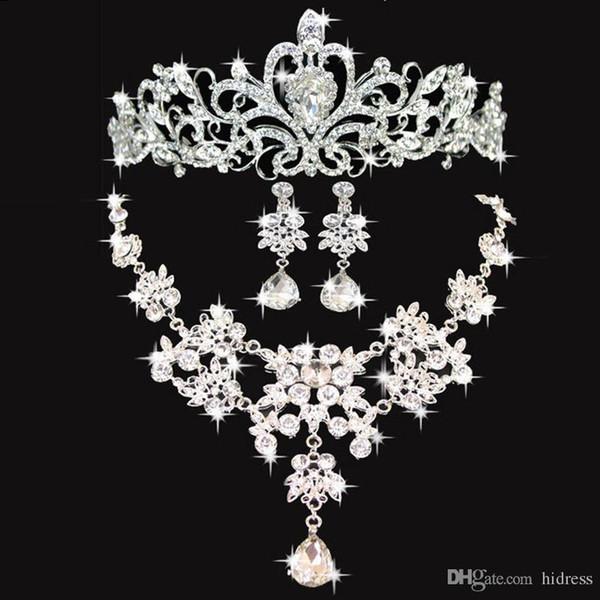 Accesorios de boda de dama de honor de cuervos de boda brillantes Accesorios nupciales conjunto Envío gratis (corona + collar + pendientes)