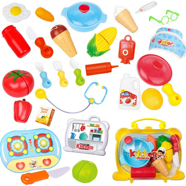 Kitchen Cutting Toys Plastic Cartoon Fruit Vegetable Development Education Toy Birthday Gift for Baby Kids Children Mix Color