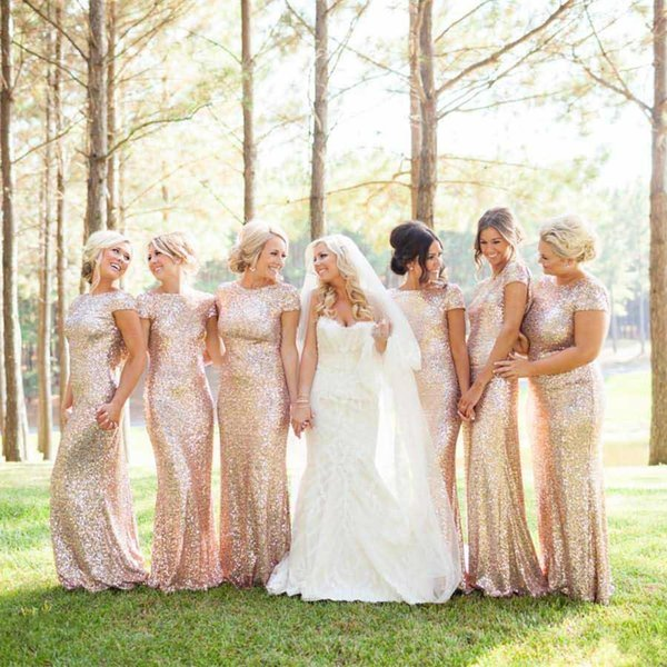 Sparkly Rose Gold Sequin Cheap Mermaid Bridesmaid Dresses Short Sleeve Sequins Backless Long Beach Wedding Party Gowns Gold Champagne 143