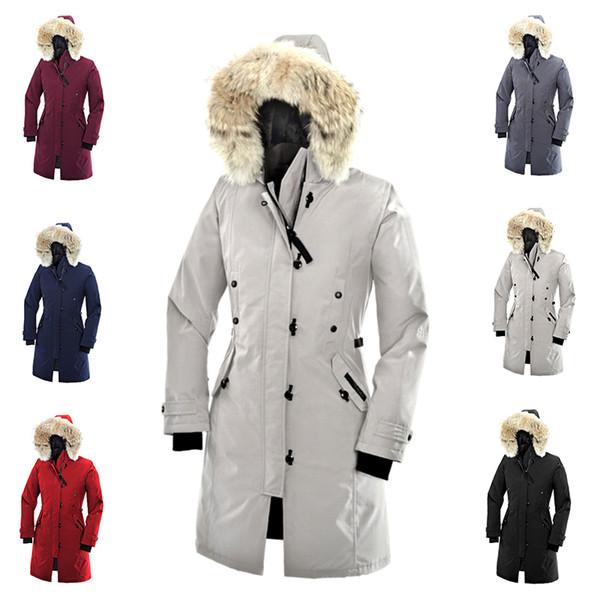 Envío gratis Nueva Canadá Mujeres Goose Down Chilliwack Bomber Con Capucha Abrigo de Piel Abrigo Cazadora parka E12