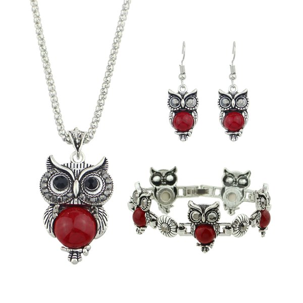 Fashion Antique Silver Color Chain Red Black Beads Owl Pendant Necklace Charm Bracelet Drop Earrings Vintage Jewelry Sets