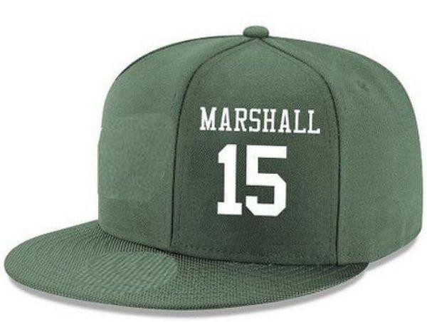 Cappelli di snapback personalizzati Qualsiasi numero di nome giocatore # 25 Ptyor # 15 Marshall Personalizzato TUTTI I tappi di squadra Accetta logo o nome di ricamo piatto personalizzato