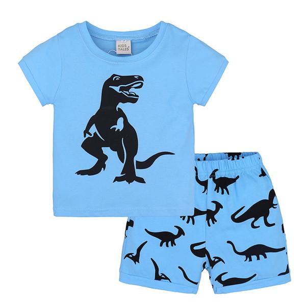 Boys Giyim Setleri Yaz Çocuklar Pamuk Mavi T-Shirt + Şort Takım Erkek Bebek Giysileri Setleri Bebekler Kostüm 2 adet