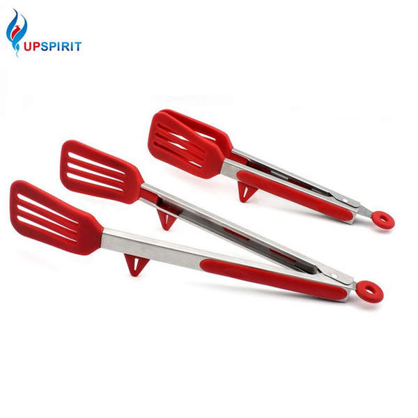 Upspirit  Tongs with Stand Non-slip Baking Anti Heat Clip Tong Pastry Clamp BBQ Tongs Cooking Tools Kitchen Utensils