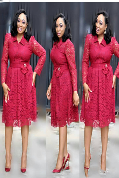 Autumn Ladies Lace Dress Women Fall African Casual Vintage Cocktail Party Midi Dresses Long Sleeved Elegant Plus Size