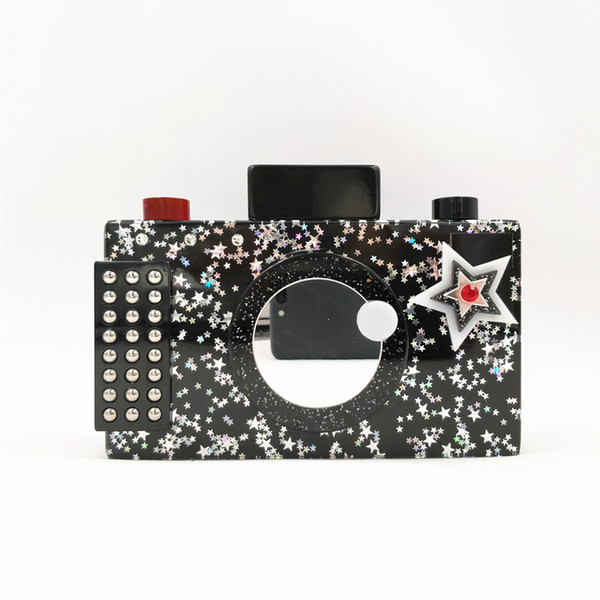 2018 Yens Women Unique Camera Acrylic Clutch Brand Designer Evening Bag Sequined Wedding Party Handbag Cute Cartoon Wallet New