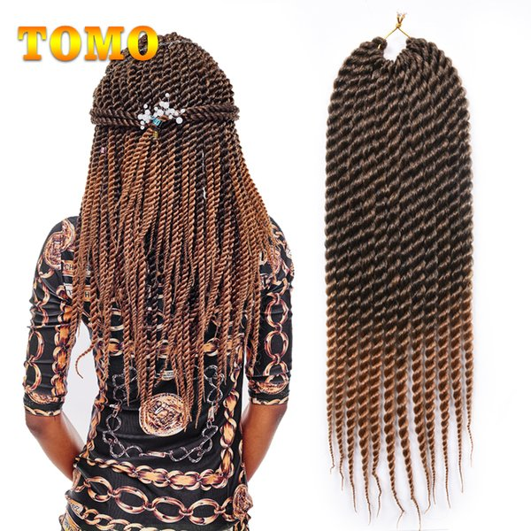 TOMO Braided Havana Mambo Twist 12/18Inch Braiding Hair Extensions Pure/Mixed Brown Gray Ombre Synthetic Fiber Crochet Braids 12 roots/pack
