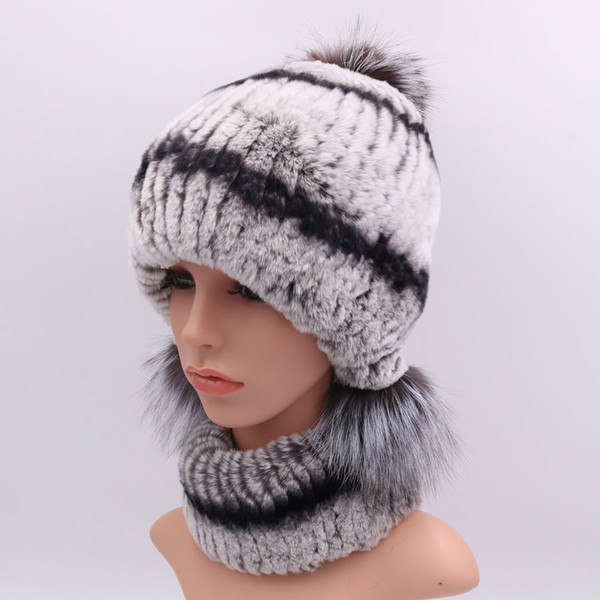 Winter Vintage Fur Hat Scarf Set For Women Fashion Warm Rex Rabbit Fur Beanies Female Caps Ear Protection Hats Lady Scarves 2018