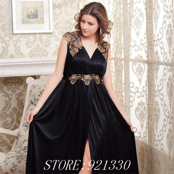 Free Shipping Summer Women V- Neck New plus size Black Sleeveless Lace Sleepwear Girls Faux Silk Elegant noble Nightgown Dress
