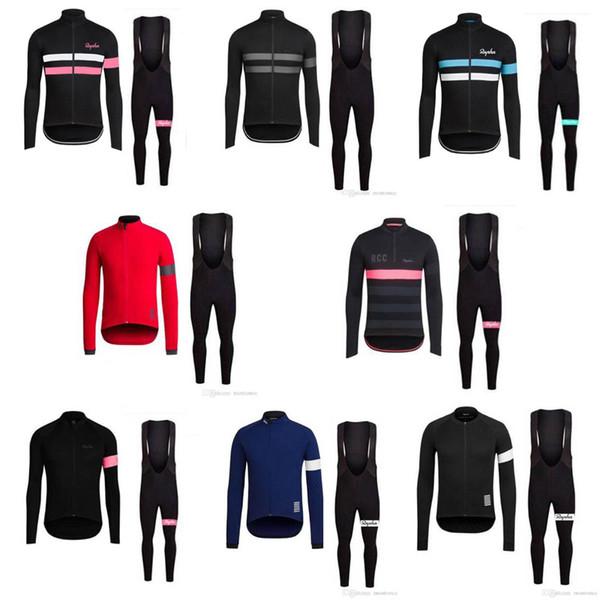 Venda quente! Equipe RAPHA Ciclismo manga comprida jersey (bib) calças conjuntos roupas de bicicleta respirável mtb ropa ciclismo quick dry roupas de bicicleta e61501